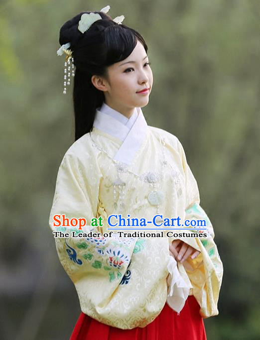 Asian Chinese Ming Dynasty Hanfu Embroidered Yellow Blouse Costume, Traditional China Ancient Princess Clothing for Women