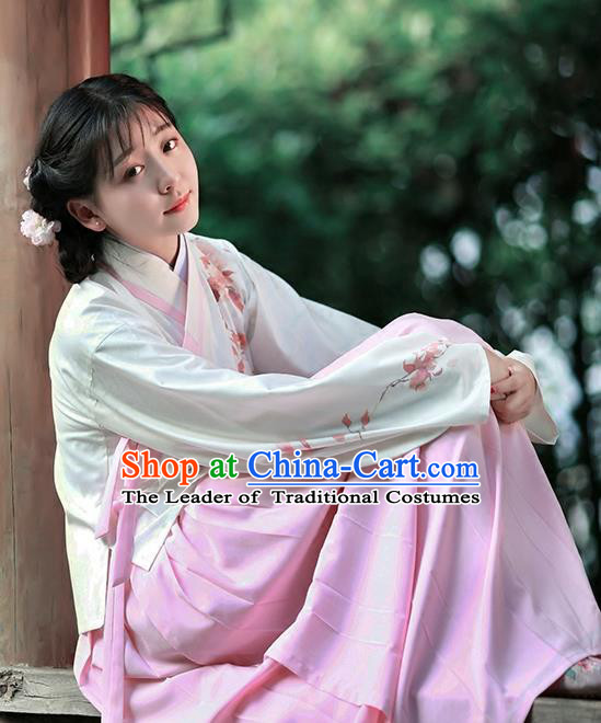 Asian Chinese Ming Dynasty Hanfu Embroidered Costume Blouse and Skirt, Traditional China Ancient Princess Clothing for Women