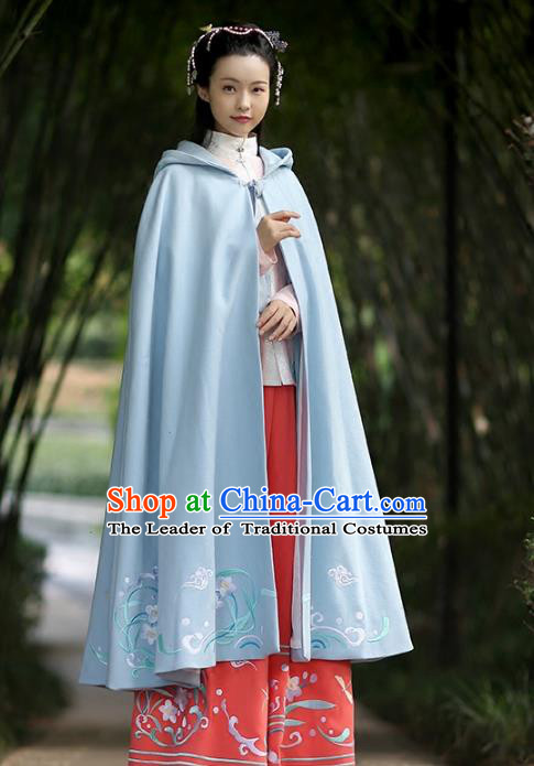 Asian Chinese Ming Dynasty Hanfu Costume Embroidered Swordswoman Cape, Traditional China Ancient Princess Blue Cloak Clothing for Women