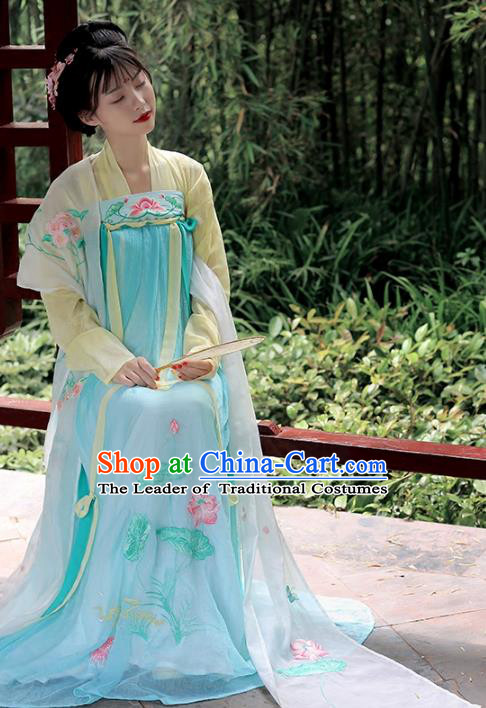 Asian Chinese Tang Dynasty Imperial Princess Costume Hanfu Embroidery Green Slip Skirt, Traditional China Ancient Embroidered Dress Clothing for Women