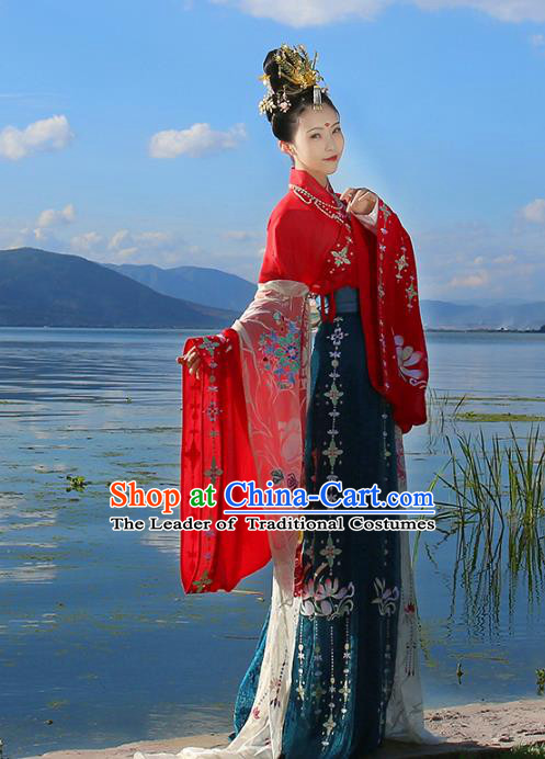 Asian Chinese Tang Dynasty Imperial Princess Wedding Costume, Ancient China Palace Lady Embroidered Bride Red Clothing Complete Set