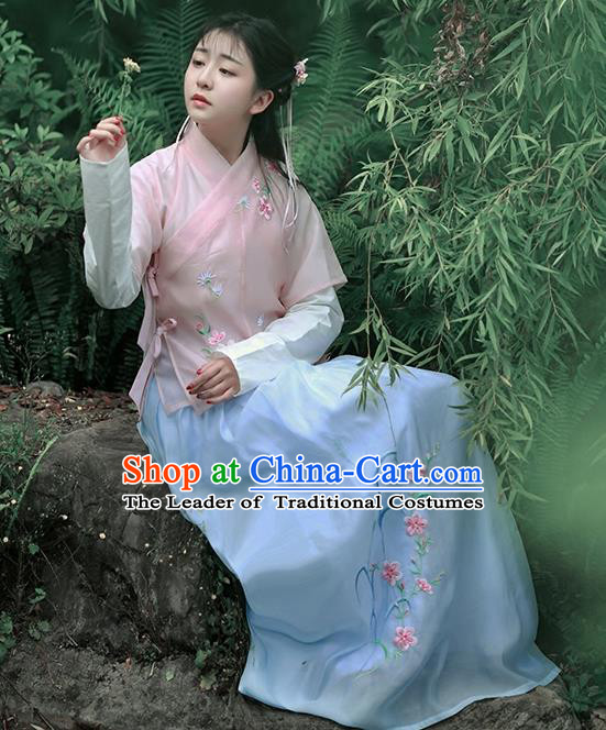Asian Chinese Song Dynasty Young Lady Costume Complete Set, Ancient China Princess Embroidered Half-Sleeves Slip Skirt Clothing for Women