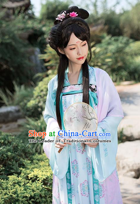 Asian Chinese Tang Dynasty Princess Embroidery Costume Slip Skirt Complete Set, Ancient China Palace Lady Clothing for Women