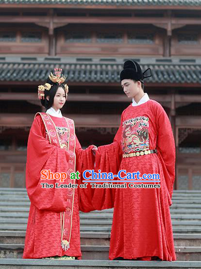 Asian Chinese Ming Dynasty Emperor and Empress Wedding Costume Complete Set, Ancient China Bride and Bridegroom Embroidered Clothing for Women for Men
