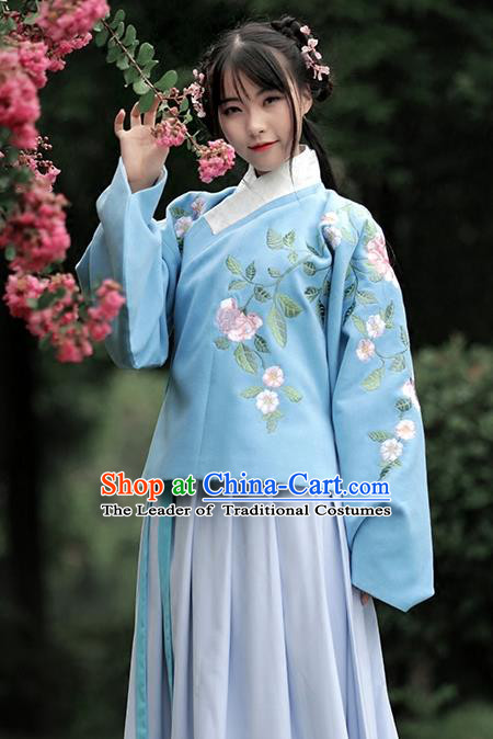 Asian Chinese Ming Dynasty Young Lady Costume Blue Embroidery Wool Blouse, Ancient China Princess Embroidered Clothing for Women