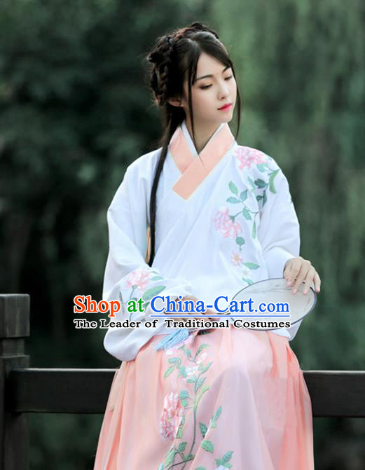 Asian Chinese Ming Dynasty Young Lady Costume Pink Embroidery Blouse, Ancient China Princess Embroidered Clothing for Women