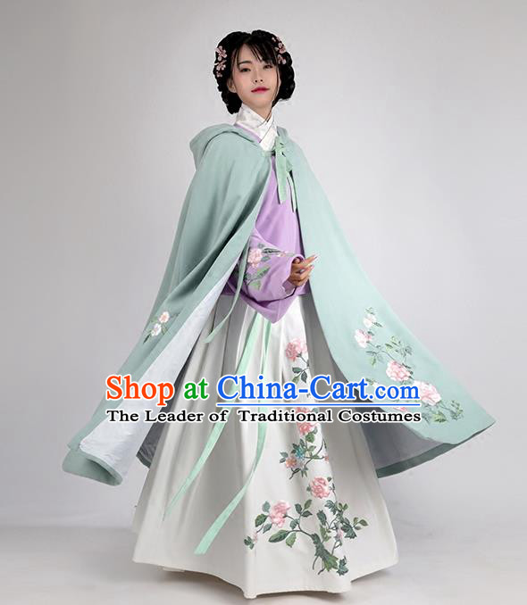 Asian Chinese Ming Dynasty Young Lady Costume Green Embroidery Wool Cloak, Ancient China Princess Embroidered Mantle Clothing for Women
