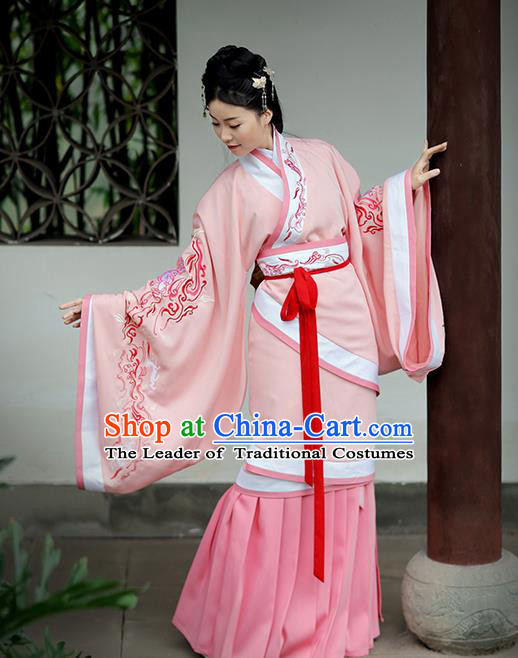 Asian Chinese Han Dynasty Palace Lady Costume Pink Embroidery Curve Bottom, Ancient China Princess Embroidered Hanfu Dress Clothing for Women