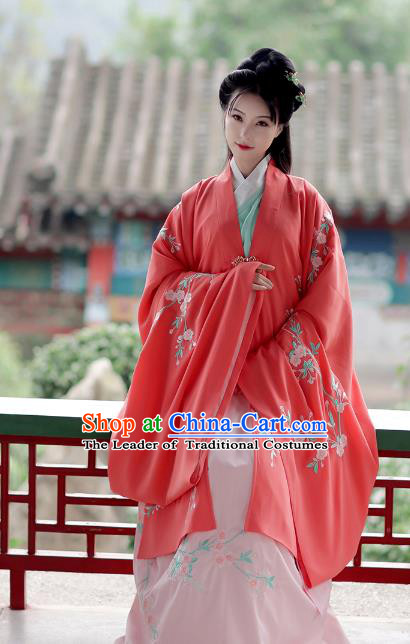 Asian Chinese Ming Dynasty Young Lady Costume Red Cloak, Ancient China Princess Embroidered Hanfu Wide Sleeve Cardigan for Women