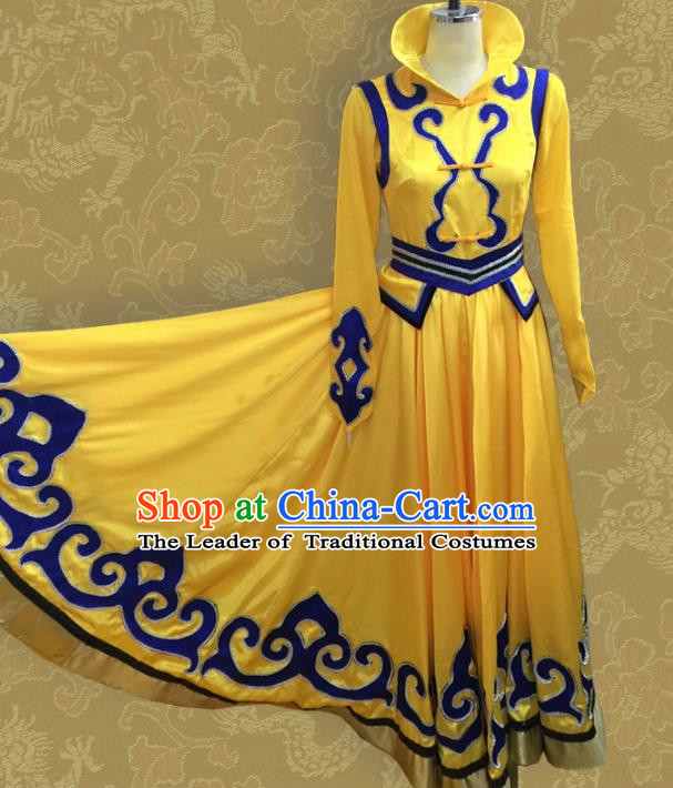 Traditional Chinese Mongol Nationality Dancing Costume, Mongols Female Folk Dance Ethnic Pleated Skirt Embroidery Clothing for Women