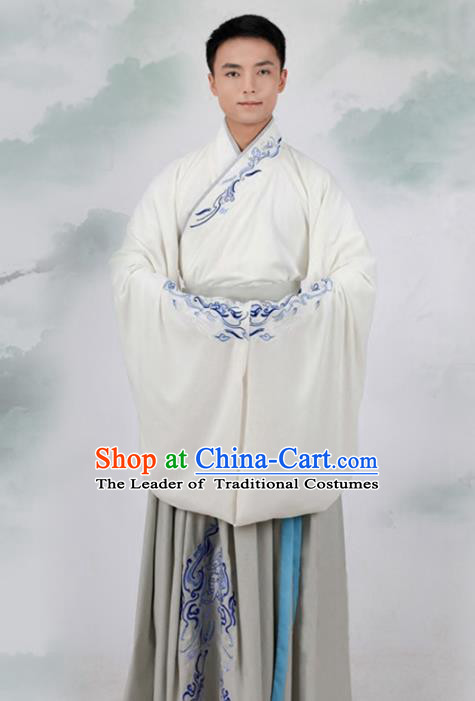 Asian Chinese Han Dynasty Scholar Costume, Ancient China Minister Embroidered Hanfu Clothing for Men