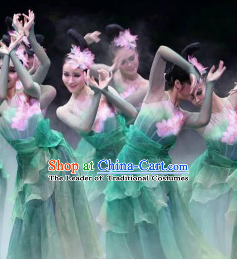 Traditional Chinese Classical Lotus Dance Costume, China Folk Dance Fairy Dance Green Clothing for Women