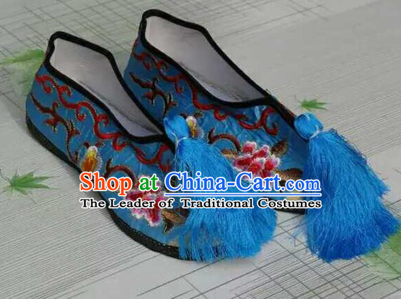 Traditional Chinese Peking Opera Diva Embroidered Shoes, China Ancient Beijing Opera Hua Tan Blue Blood Stained Shoes for Women