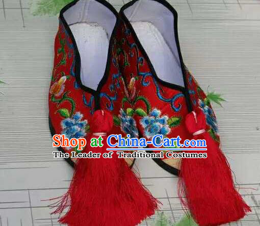 Traditional Chinese Peking Opera Diva Embroidered Shoes, China Ancient Beijing Opera Hua Tan Red Blood Stained Shoes for Women