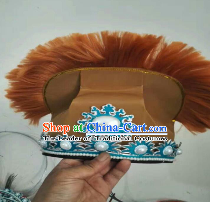 Traditional Chinese Peking Opera Old Men Coffee Hats, China Ancient Beijing Opera Ministry Councillor Headwear for Men
