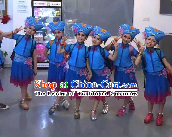 Traditional Chinese Zhuang Nationality Dance Costume Folk Dance Ethnic Pleated Skirt for Kids