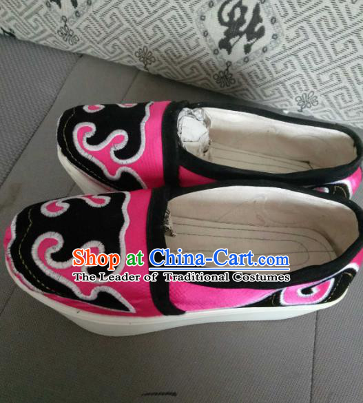 Traditional Chinese Peking Opera Young Men Embroidered Pink Shoes, China Ancient Beijing Opera Niche Cloth Shoes for Men