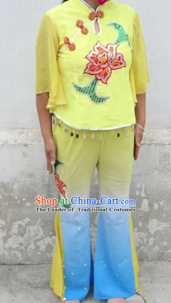 Traditional Chinese Yangge Children Fan Dancing Costume Folk Dance Yangko Costume for Women