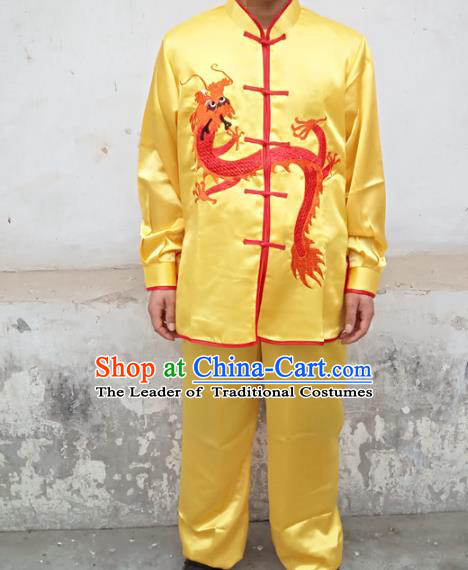 Traditional Chinese Classical Dance Yangge Fan Dance Costume, Folk Dance Drum Dance Lion Dance Yellow Clothing for Men