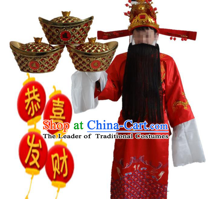 Traditional Chinese Peking Opera God of Wealth Costume, China Ancient Beijing Opera Embroidered Robe Clothing for Men