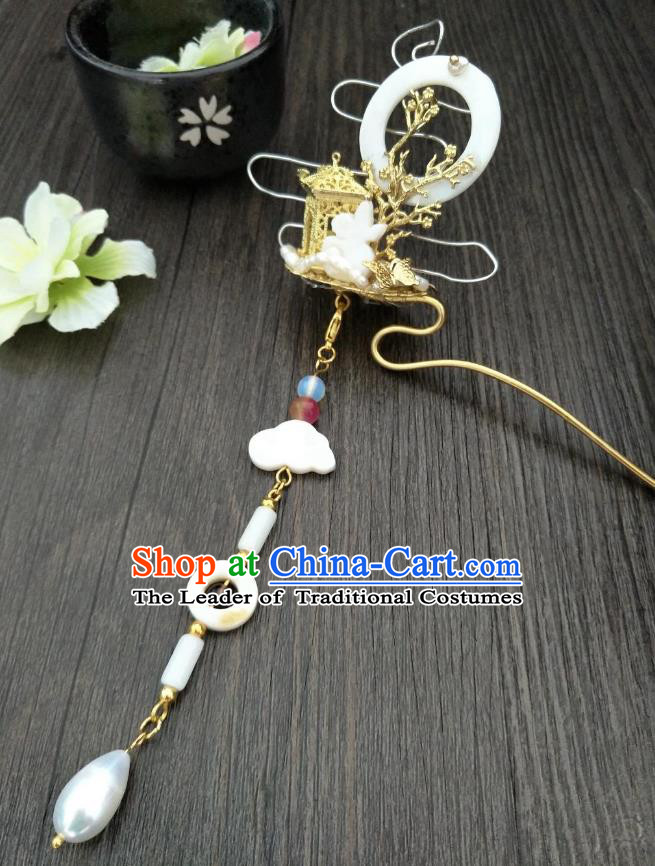 Traditional Handmade Chinese Hair Accessories Hanfu Tassel Hairpins, China Ancient Tang Dynasty Palace Lady Step Shake for Women
