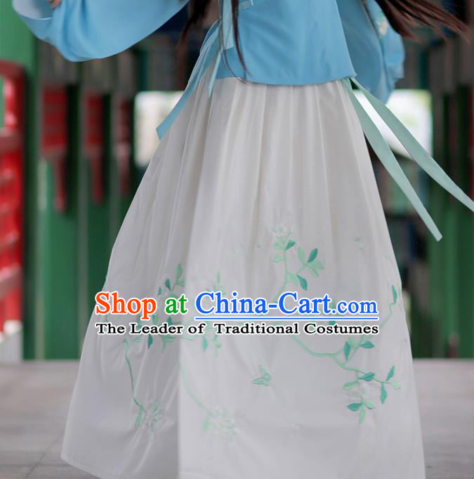 Asian Chinese Ming Dynasty Young Lady Costume White Bust Skirt, Ancient China Princess Embroidered Hanfu Dress Clothing for Women