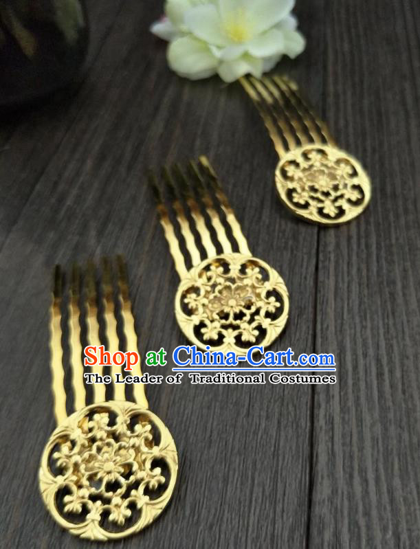 Traditional Handmade Chinese Hair Accessories Hanfu Shell Hairpins, China Ancient Tang Dynasty Palace Lady Golden Hair Comb for Women