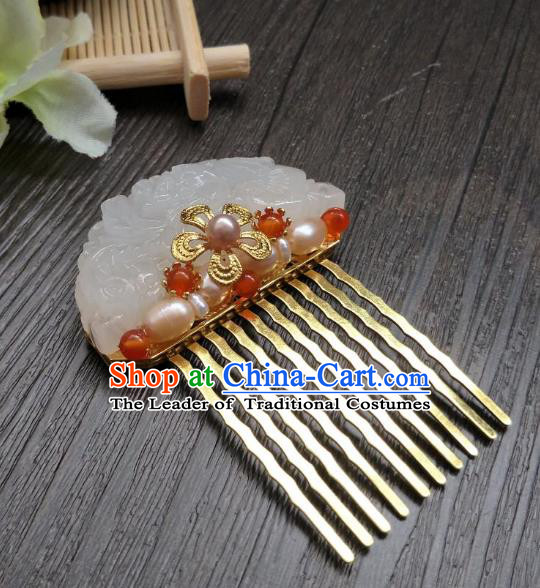 Traditional Handmade Chinese Hair Accessories Hanfu Red Beads Hairpins, China Ancient Tang Dynasty Palace Lady Jade Hair Comb for Women