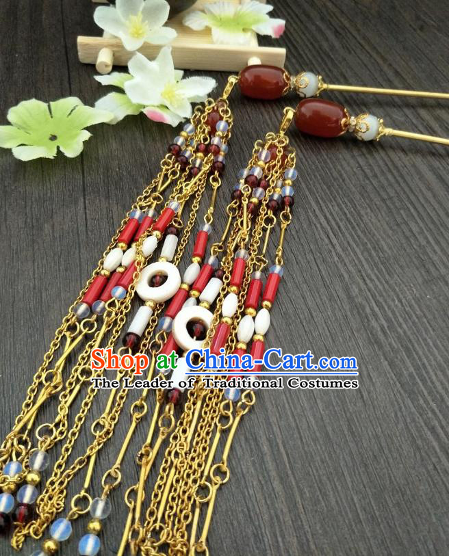 Traditional Handmade Chinese Hair Accessories Hanfu Tassel Hairpins, China Ancient Tang Dynasty Palace Lady Red Agate Step Shake for Women