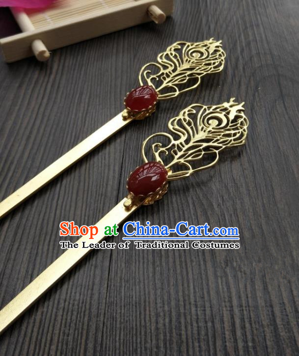 Traditional Handmade Chinese Hair Accessories Hanfu Copper Hairpins, China Ancient Tang Dynasty Palace Lady Hair Stick for Women