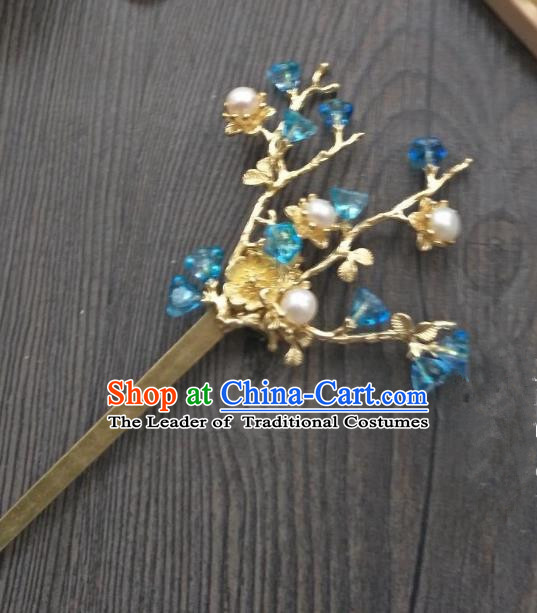 Traditional Handmade Chinese Hair Accessories Blue Crystal Hairpins, China Ancient Tang Dynasty Palace Lady Hanfu Hair Stick for Women