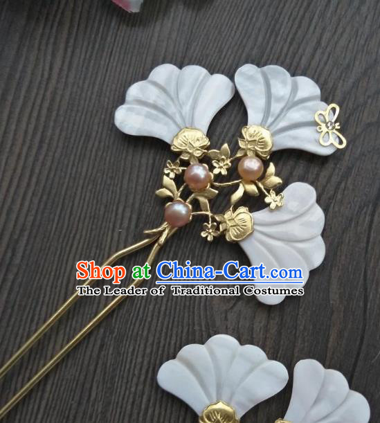 Traditional Handmade Chinese Hair Accessories Shell Hairpins, China Ancient Tang Dynasty Palace Lady Hanfu Hair Stick for Women