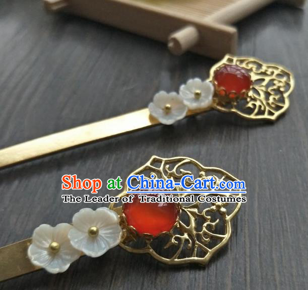 Traditional Handmade Chinese Hair Accessories Red Agate Hairpins, China Ancient Tang Dynasty Palace Lady Hanfu Hair Stick for Women