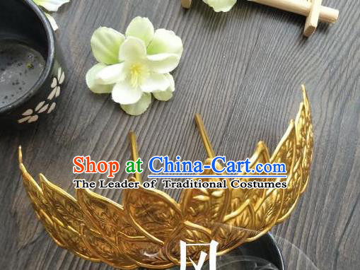 Traditional Handmade Chinese Hair Accessories Hanfu Copper Hairpins, China Palace Lady Lotus Crown Hair Comb for Women