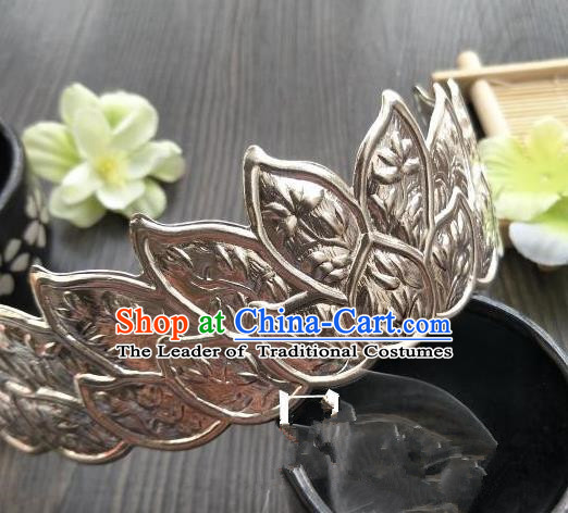 Traditional Handmade Chinese Hair Accessories Hanfu Copper Silver Hairpins, China Palace Lady Lotus Crown Hair Comb for Women