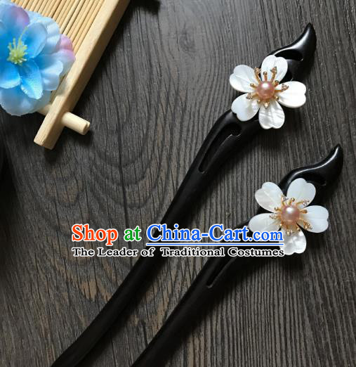 Traditional Handmade Chinese Hair Accessories Shell Kanzashi, China Ancient Palace Lady Hanfu Ebony Hairpins for Women