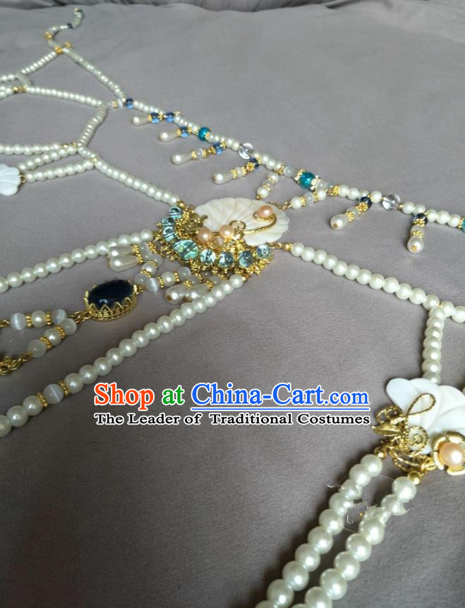 Traditional Handmade Chinese Accessories Pearls Waist Chain, China Palace Lady Hanfu Tassel Waist Pendant Belts for Women