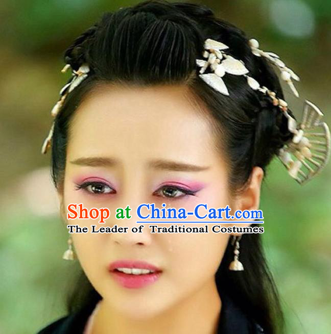 Traditional Handmade Chinese Hair Accessories Hair Comb Complete Set, China Qin Dynasty Tassel Hair Claw Hairpins for Women