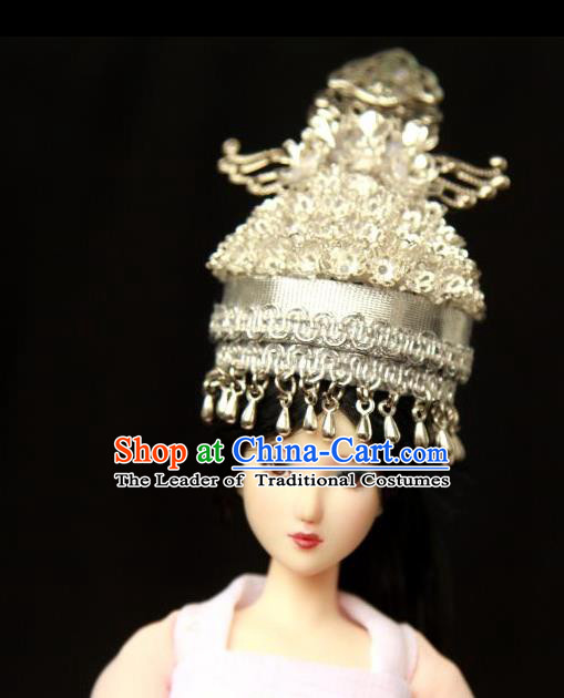 Traditional Handmade Chinese Wedding Hair Accessories Headwear, Chinese Miao Nationality Bride Phoenix Coronet Headpiece