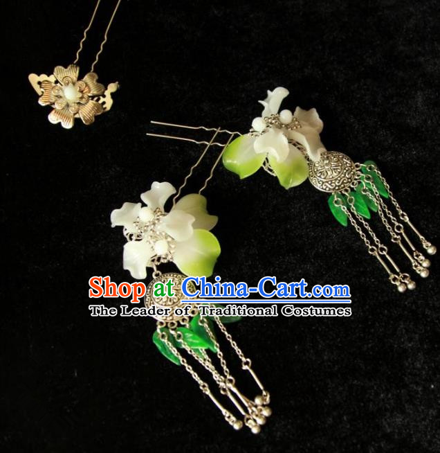 Traditional Handmade Chinese Hair Accessories, China Han Dynasty Palace Lady Tassel Step Shake Hairpins for Women