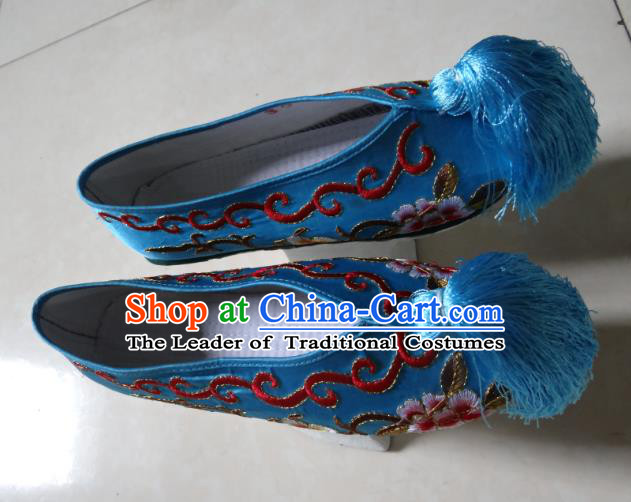 Traditional Chinese Qing Dynasty Princess Embroidered Shoes Saucers Blue Satin Shoes, China Ancient Manchu Palace Lady Blood Stained Shoes for Women