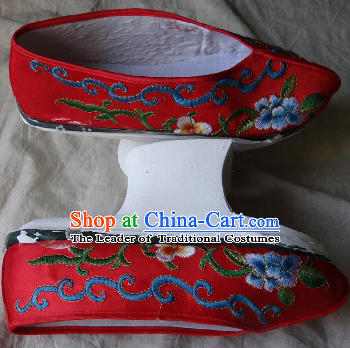 Traditional Chinese Qing Dynasty Princess Embroidered Shoes Saucers Red Satin Shoes, China Ancient Manchu Palace Lady Blood Stained Shoes for Women