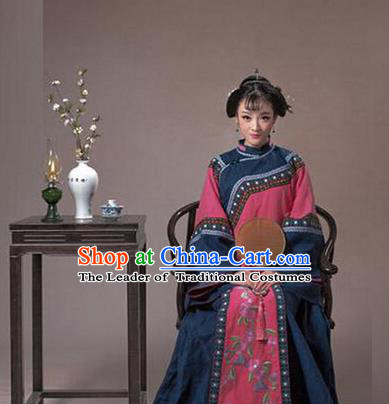 Traditional Ancient Chinese Nobility Lady Costume, Asian Chinese Qing Dynasty Embroidered Clothing for Women
