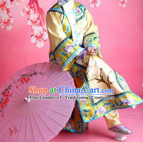 Traditional Ancient Chinese Manchu Palace Lady Costume, Asian Chinese Qing Dynasty Princess Embroidered Dress Clothing for Women