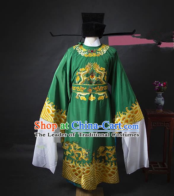 Traditional Chinese Peking Opera Bao Zheng Costume Green Embroidered Robe, China Ancient Beijing Opera Gwanbok for Men