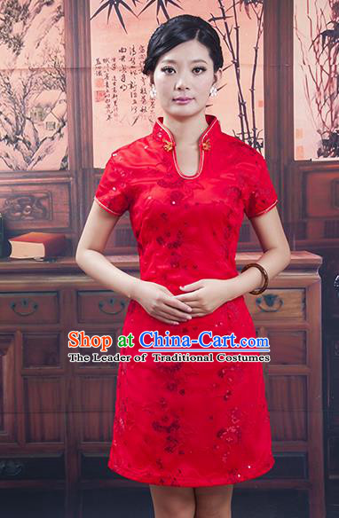 Traditional Ancient Chinese Republic of China Red Wedding Short Cheongsam, Asian Chinese Chirpaur Embroidered Qipao Dress Clothing for Women