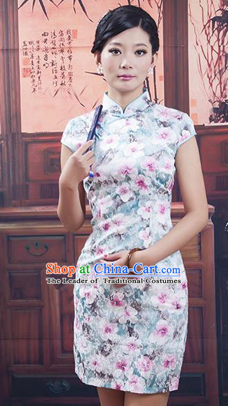 Traditional Ancient Chinese Republic of China White Silk Cheongsam, Asian Chinese Chirpaur Printing Qipao Dress Clothing for Women