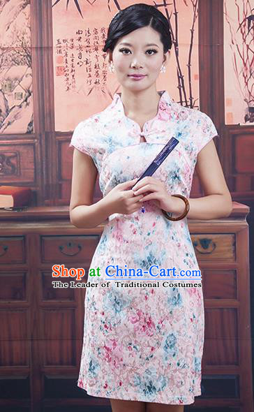 Traditional Ancient Chinese Republic of China Pink Silk Cheongsam, Asian Chinese Chirpaur Printing Qipao Dress Clothing for Women