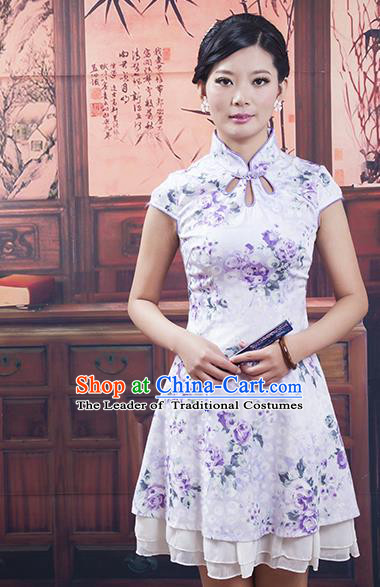 Traditional Ancient Chinese Republic of China Purple Silk Cheongsam, Asian Chinese Chirpaur Printing Qipao Dress Clothing for Women