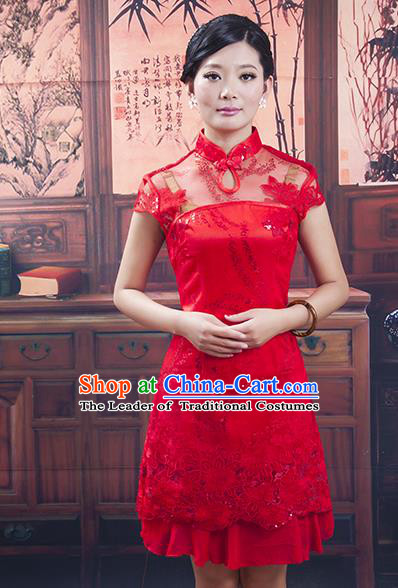 Traditional Ancient Chinese Republic of China Red Short Cheongsam, Asian Chinese Chirpaur Qipao Dress Clothing for Women